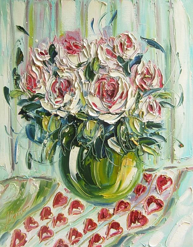 Картина, розы, холст, масло, размер 50 х 40 см.