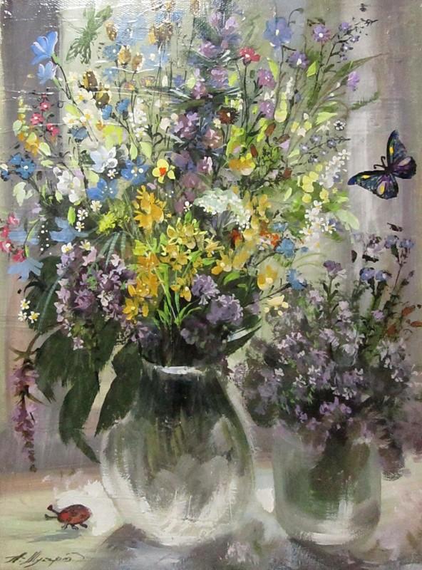 Картина, цветы, холст, масло, размер 30 х 40 см.