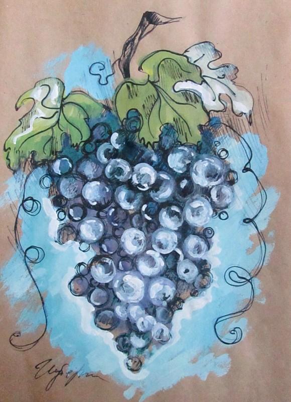 Графика, виноград, формат А4