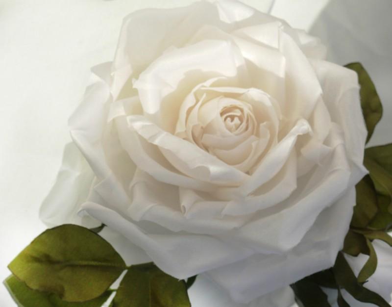 Брошь-заколка роза «Сердце Ангела». Цветы из ткани