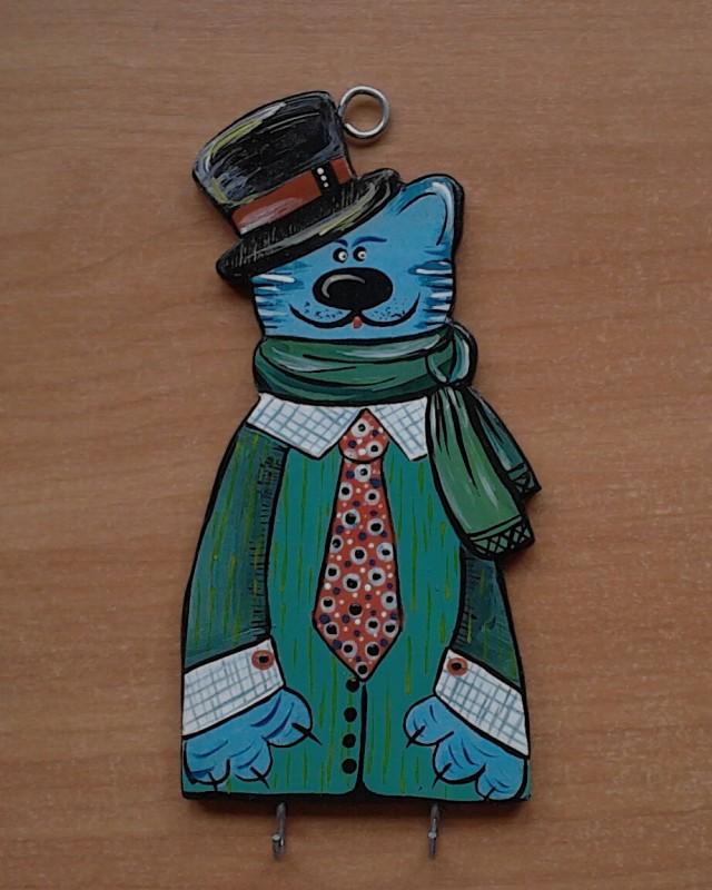 Вешалка деревянная для ключей Кот