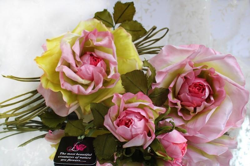 Шелковая роза «Весенние мечты». Цветы из ткани.