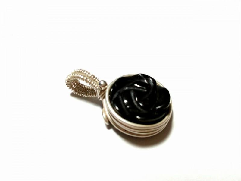 Кулон из серебра 925 пробы и чёрного агата