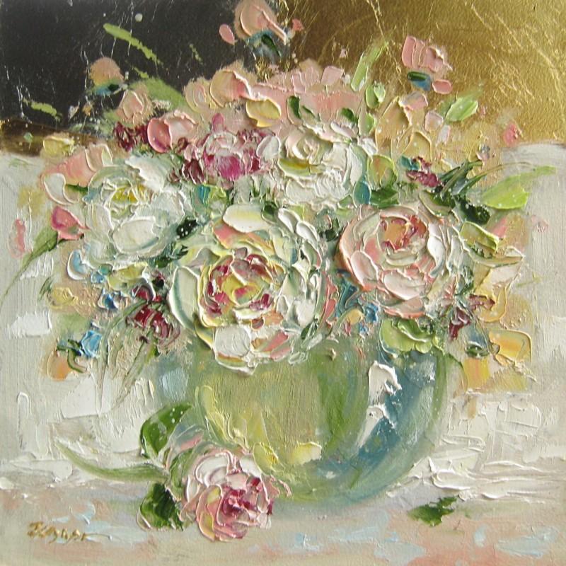 Букет роз на сусальном золоте