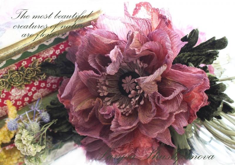 Цветы из ткани. Мак «Воспоминания»
