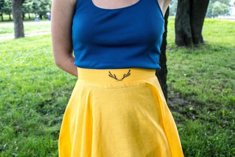 Льняная юбка-солнце с вышивкой