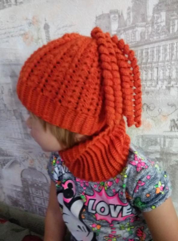 Комплект детский: шапка + шарф снудик Оранжевое чудо.