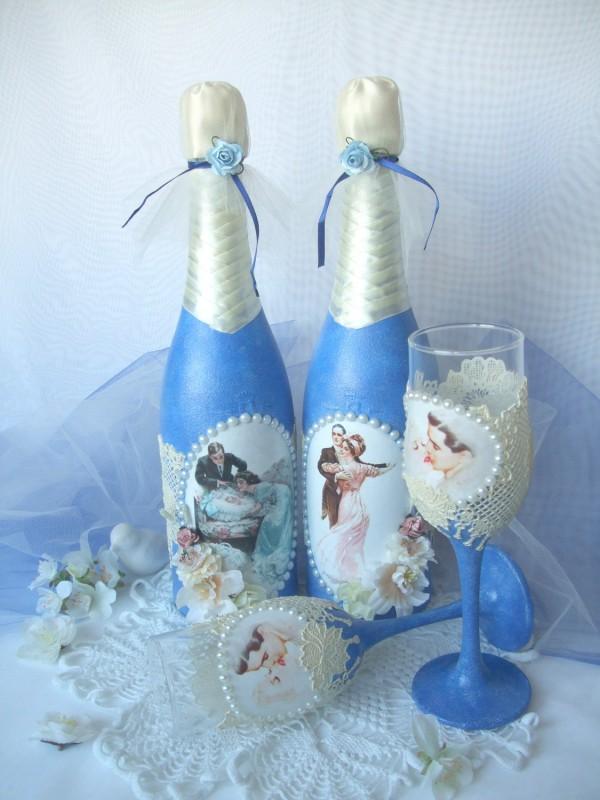 Royal wedding свадебные бутылки и фужеры.
