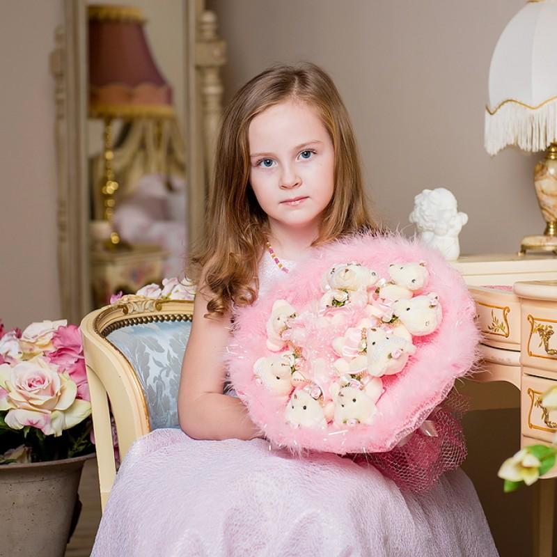 Букет из мягких игрушек Волшебный розовый (9 мишек)