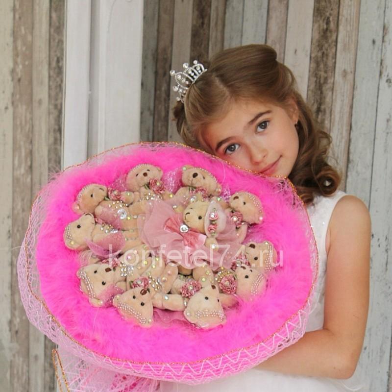 Букет из мягких игрушек Мишки в ярко-розовом (большой)