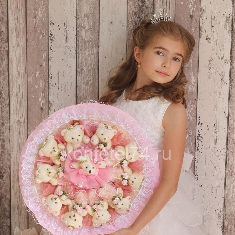 Букет из мягких игрушек Мишки в розовом (большой)