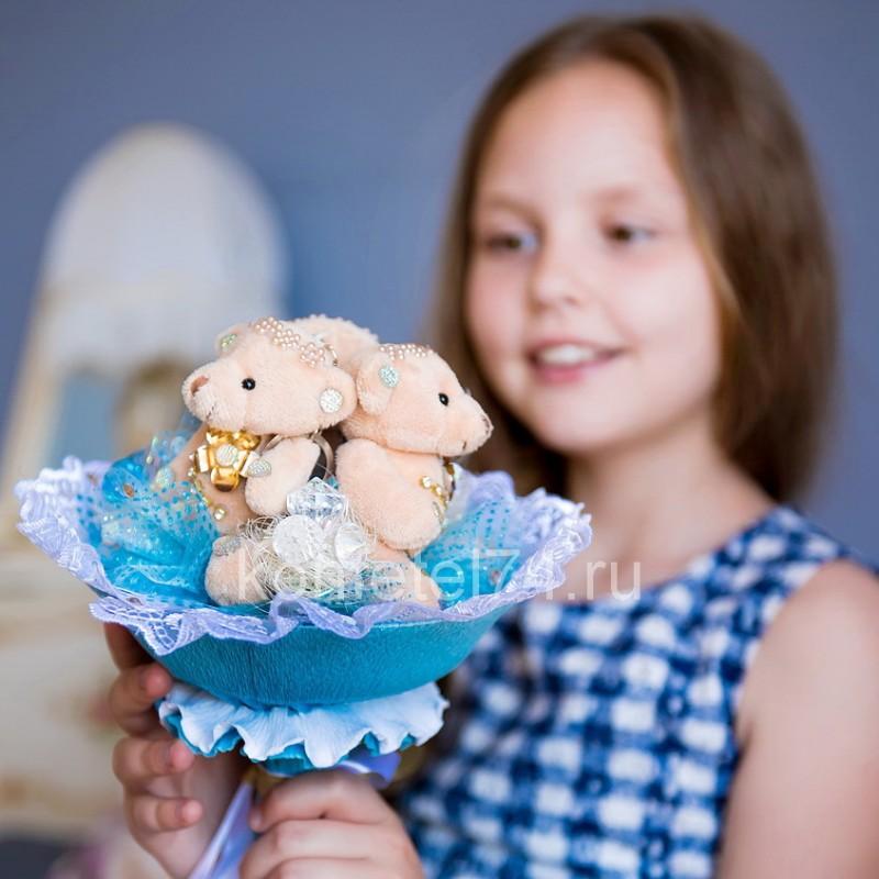 Букет из мягких игрушек Три мишки (голубой)
