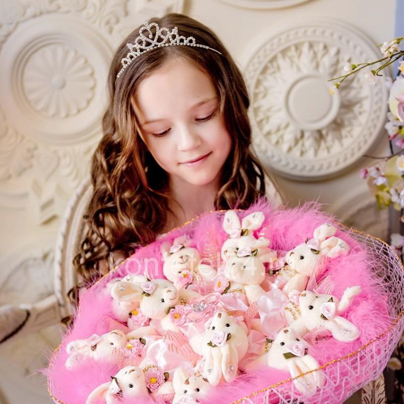 Букет из мягких игрушек Большой букет из зайцев (розовый ...