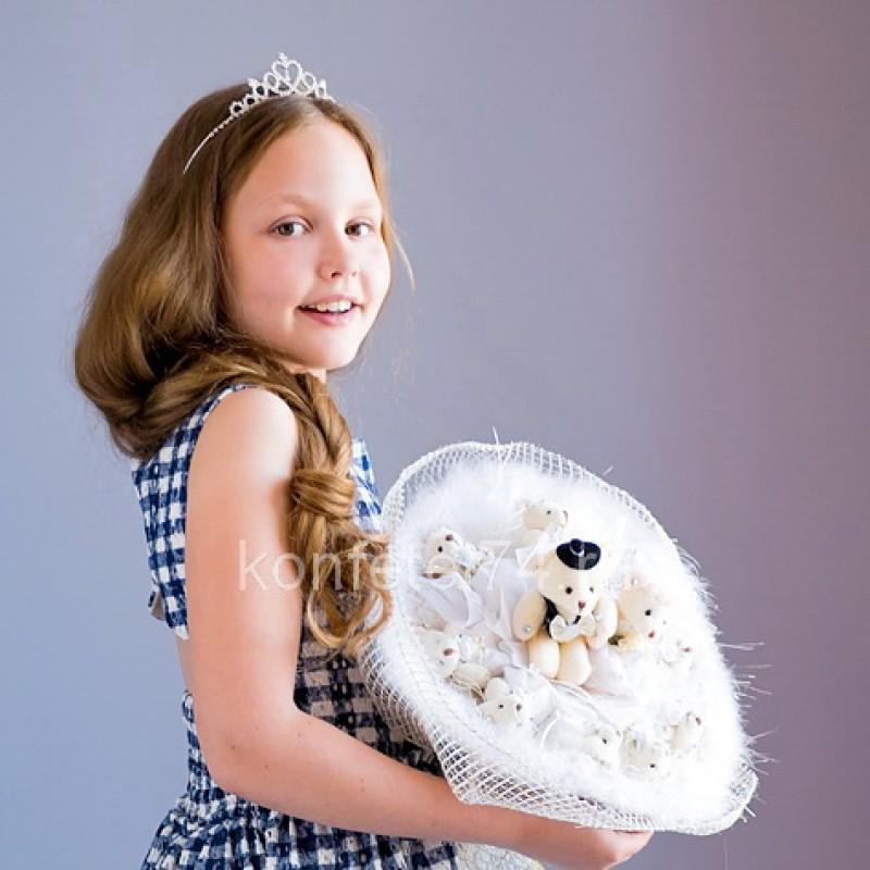 Букет из мягких игрушек мишек Свадебный (белый)