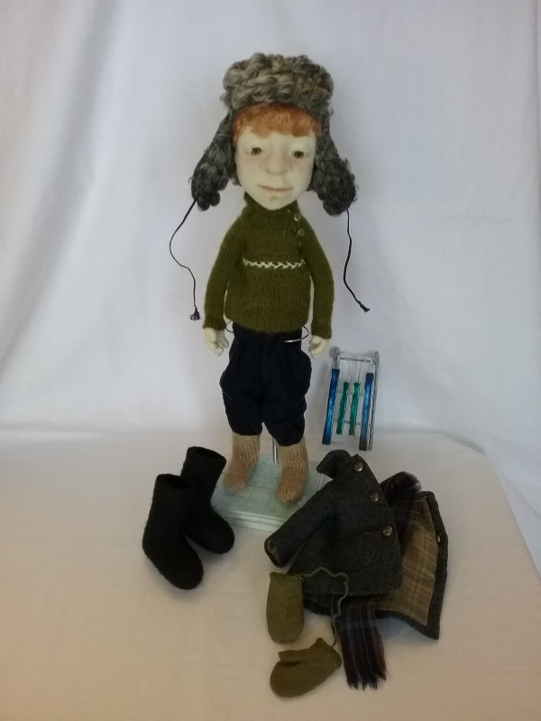 Авторская кукла Мальчик с санками