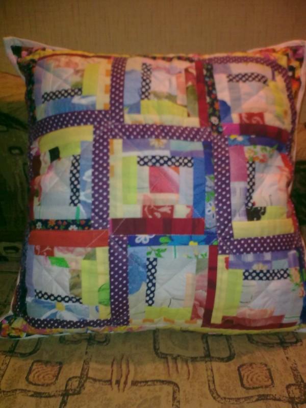 наволочка на подушку в технике лоскутного шитья, размер 50/50