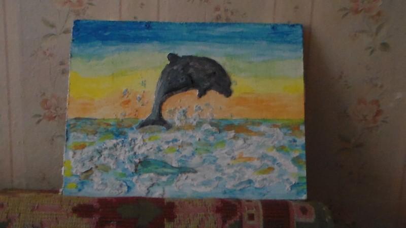 декоративное объёмное панно Дельфин