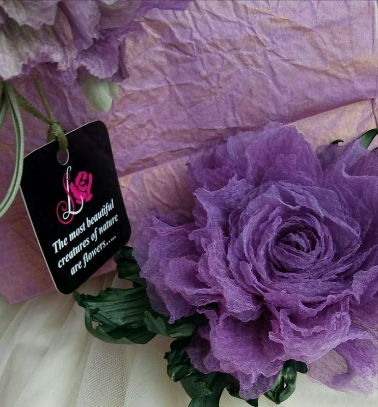 Брошь - заколка пион «Сиреневая нежность». Цветы из ткани