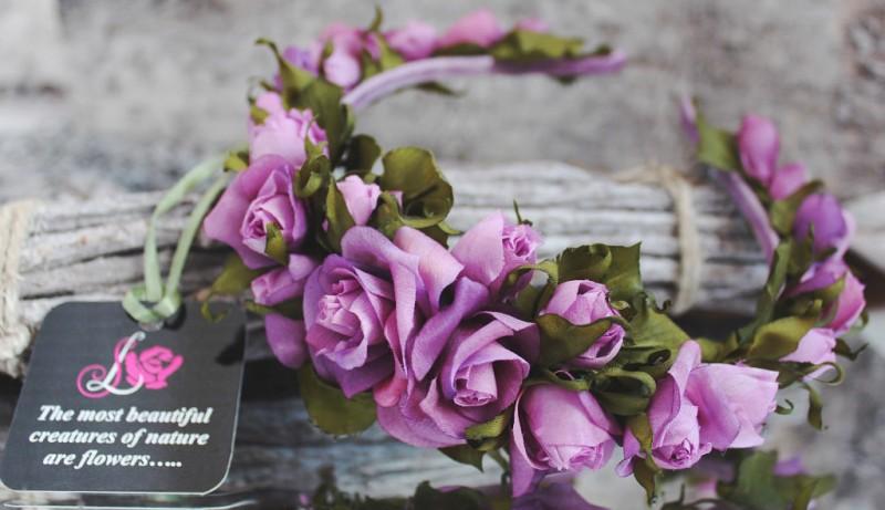 Ободок с шелковыми розами «Ягодный»
