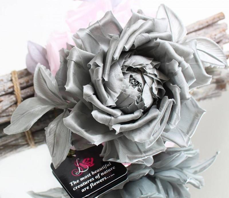 Брошь роза «Lady». Цветы из ткани