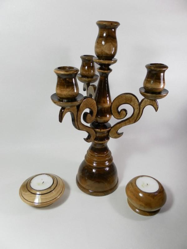 Подсвечник деревянный канделябр, на 4 свечи