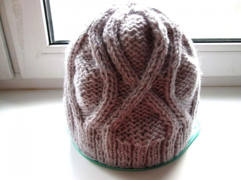 Вязаная шапочка мужская или женская из шерсти. Модель Челси. Теплая,размер 56-60