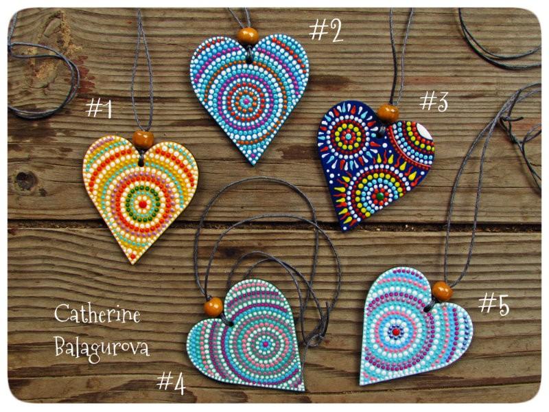 Кулоны-подвески Сердечки деревянные