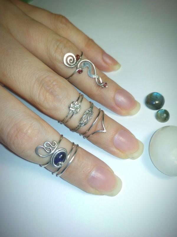 Серебряные колечки на палец ноги в ассортименте, wire wrap