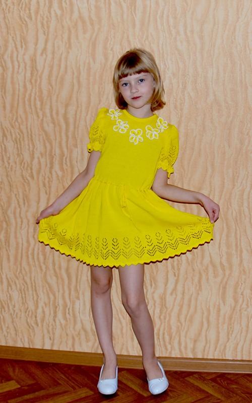 Платье вязаное летнее детское Лето