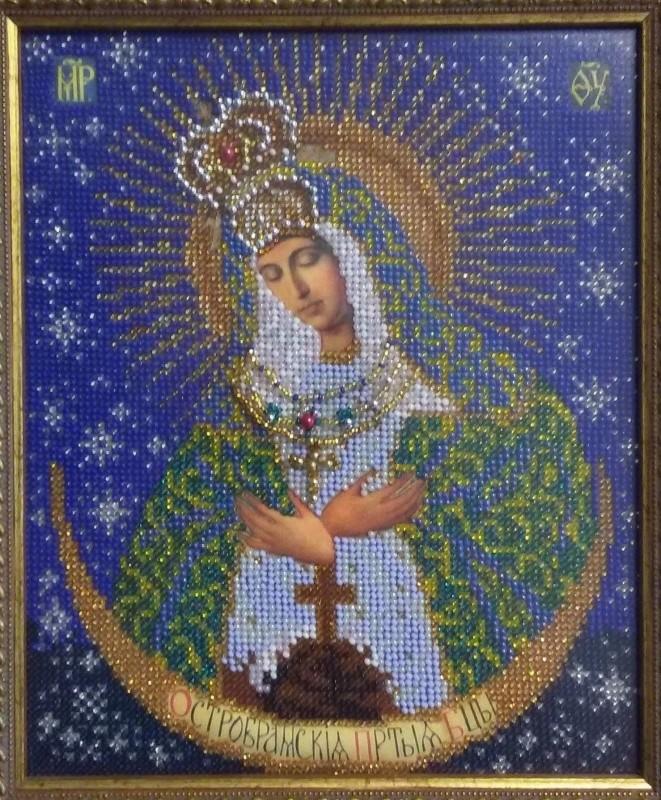 Икона Остробрамская Богородица бисером