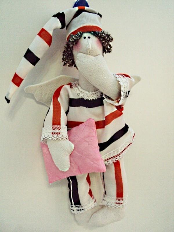 Интерьерная, текстильная кукла, в стиле Тильда Сплюшка (сонный ангел)