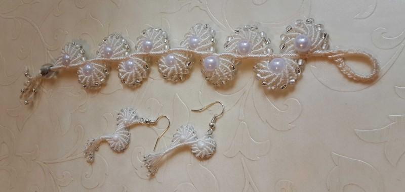 Комплект для невесты (браслет и сережки)