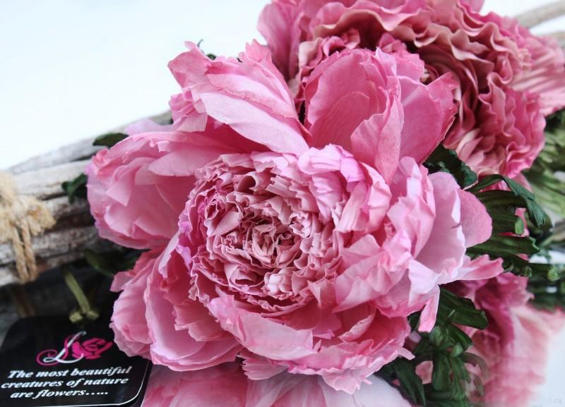 Брошь - заколка Шелковый пион. Цветы из ткани