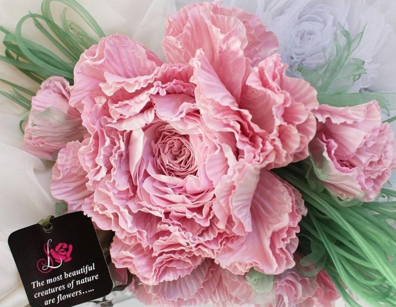 Брошь - заколка пион Розовый лепесток. Цветы из ткани