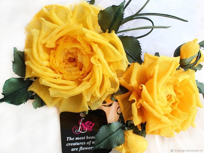 Шелковые розы «Солнечный букет». Цветы из ткани