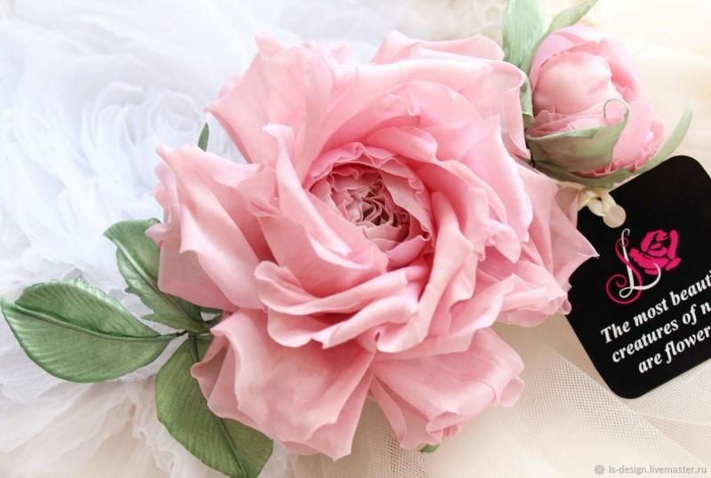Роза из шелка «Весна». Цветы из ткани