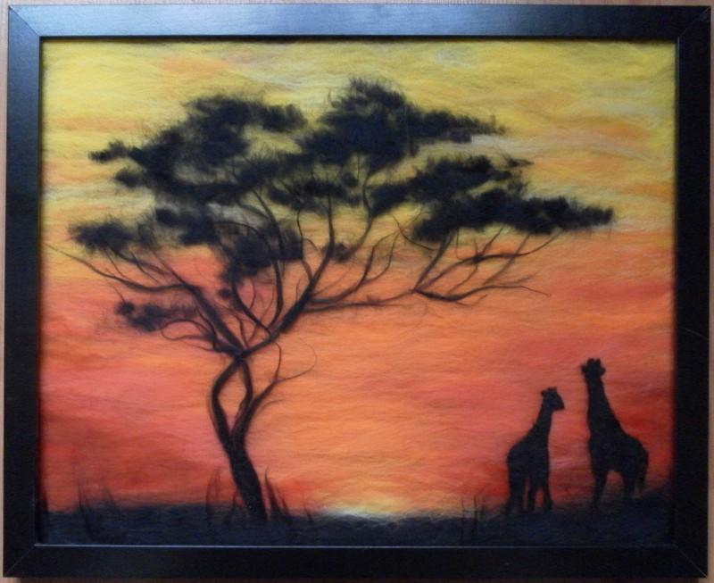 Картина из шерсти Саванна