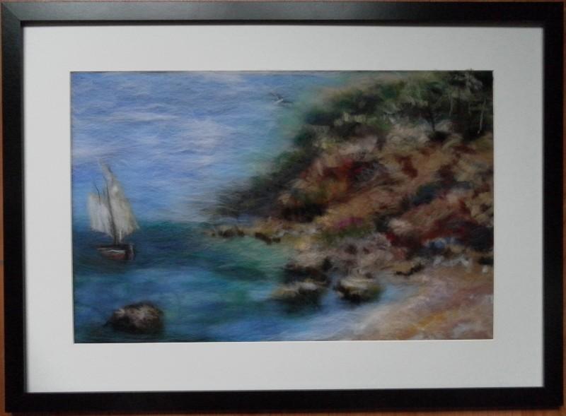 Картина из шерсти Залив