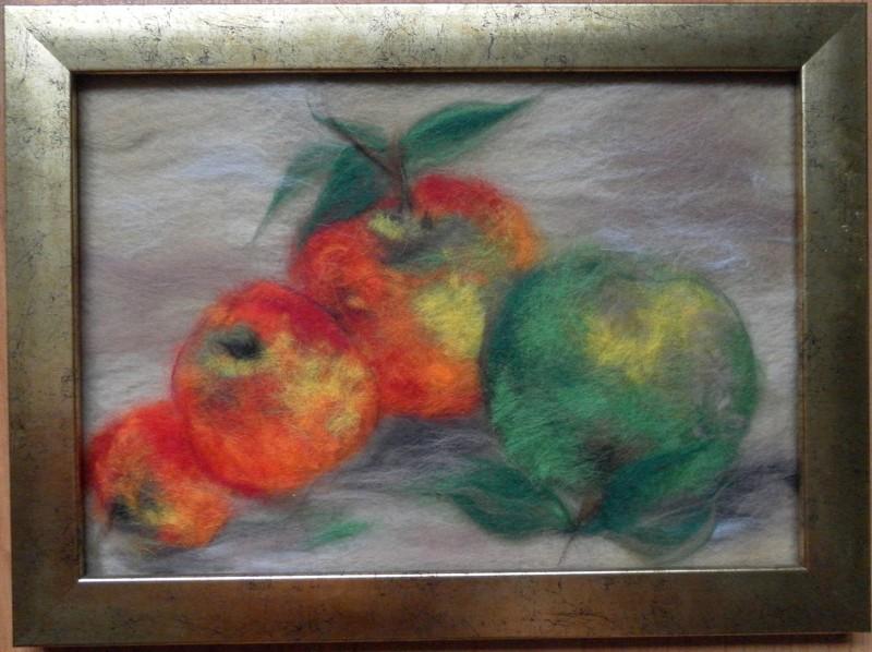 Картина из шерсти Натюрморт. Яблоки