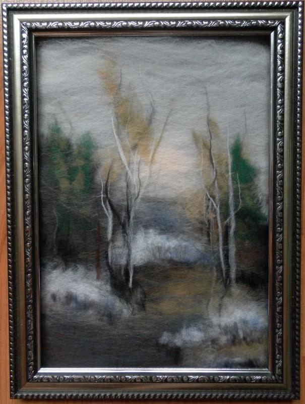 Картина из шерсти Первый снег