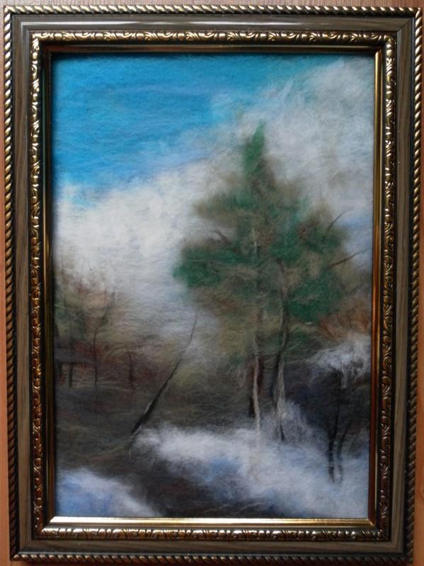 Картина из шерсти Лесная тропинка
