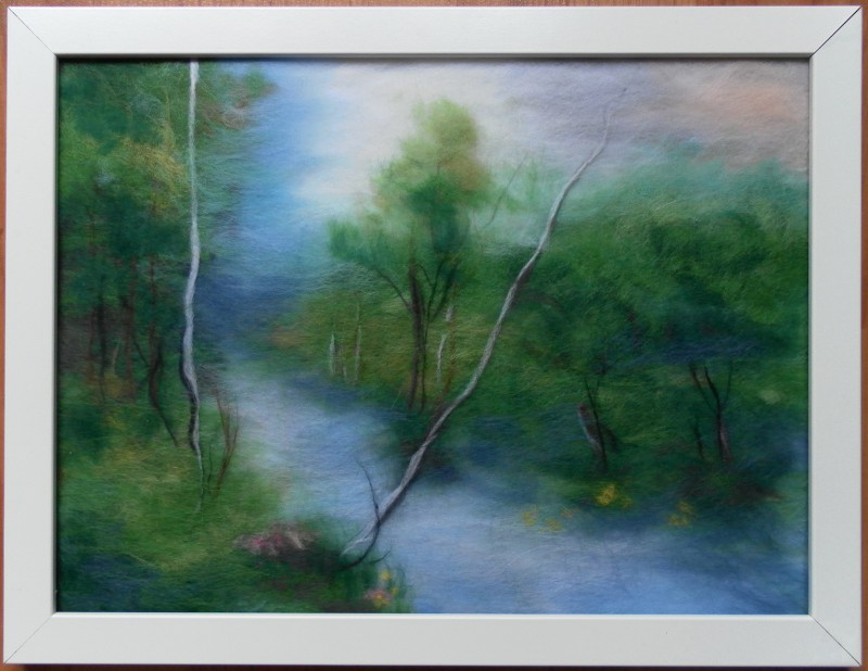 Картина из шерсти Лесная речка