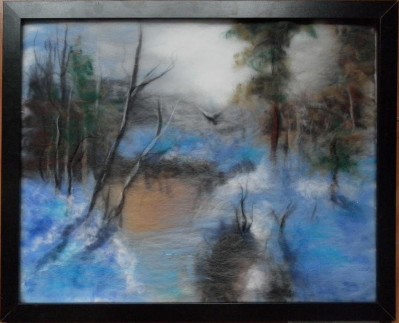 Картина из шерсти Зимнее озеро