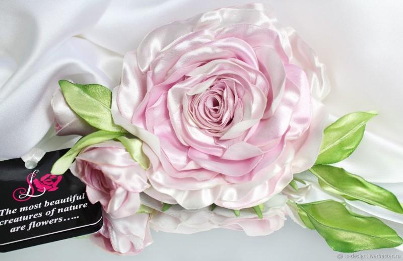Брошь роза «Жемчужина». Цветы из ткани