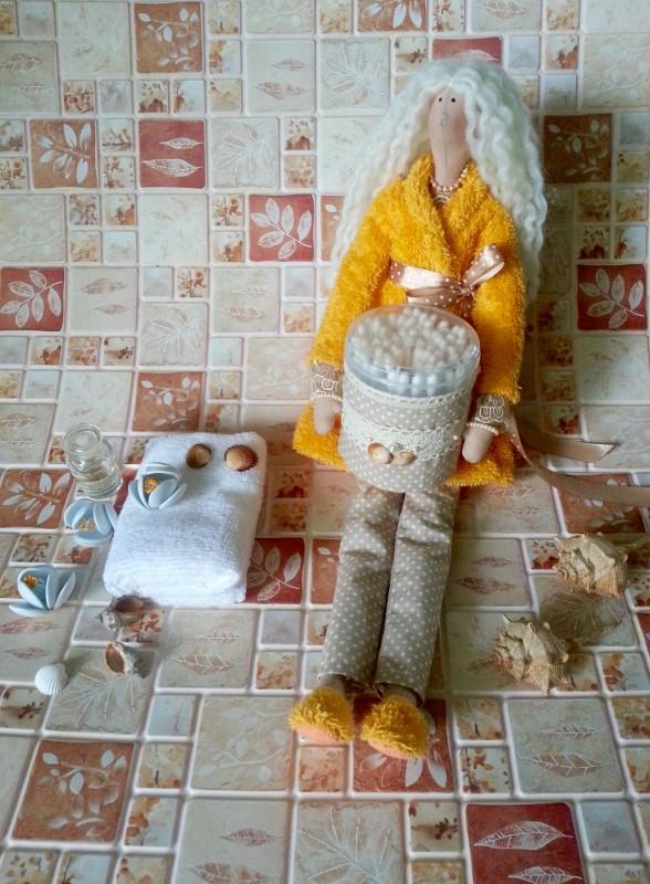 Кукла в стиле Тильда - банный ангел Жанетт, держатель ватных палочек.