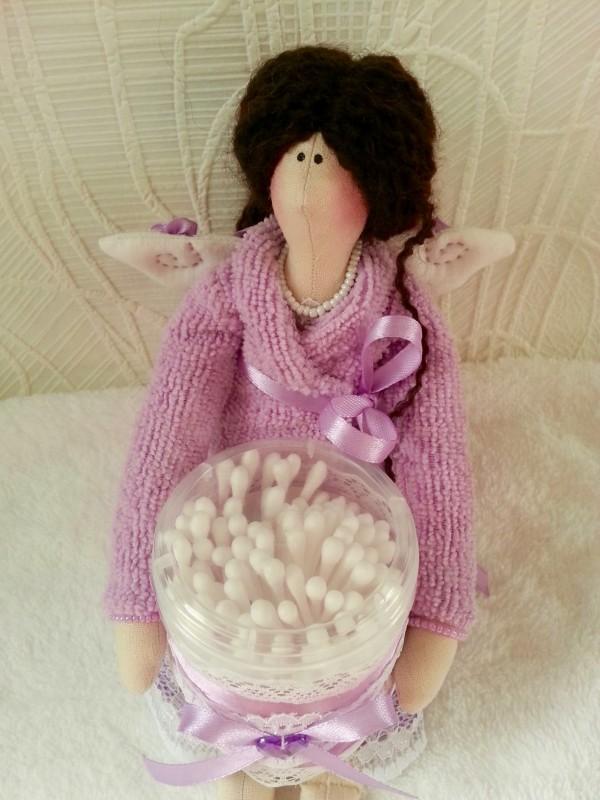 Кукла в стиле Тильда - банный Ангел Лилу, держатель ватных палочек.