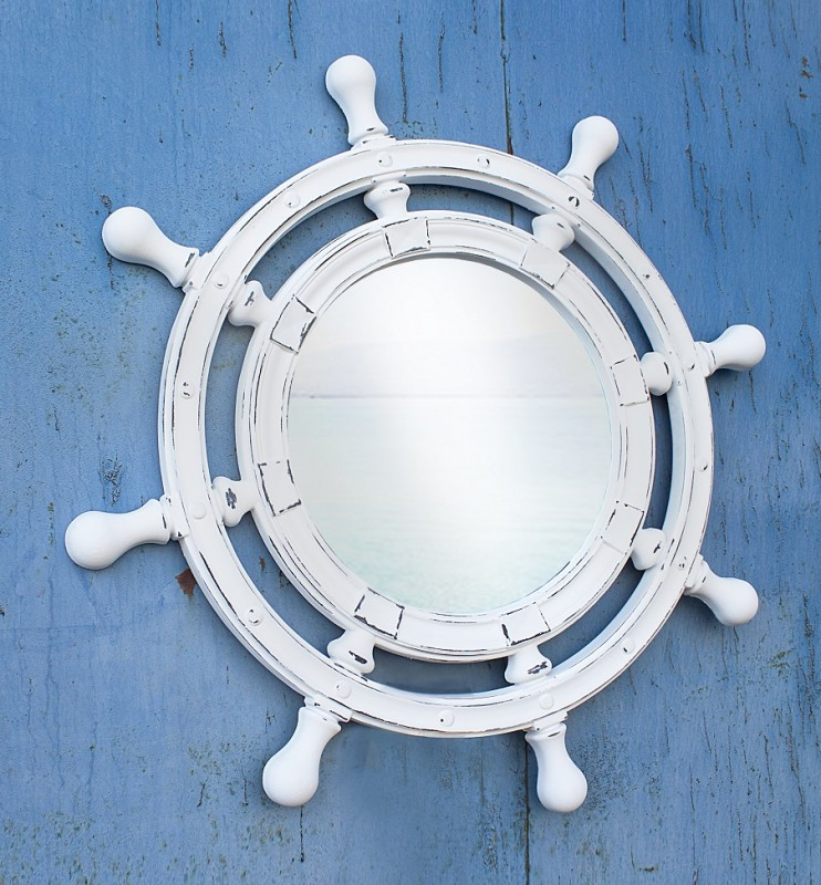 Зеркало штурвал белое