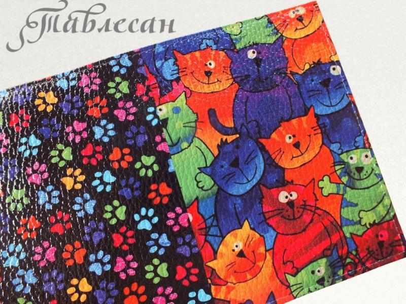 Обложка для паспорта Коты и котики кожа