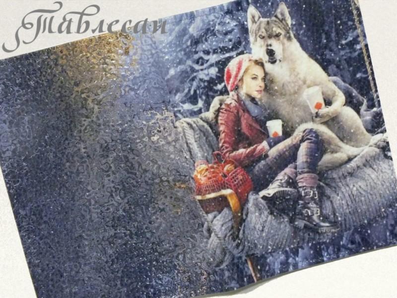 Обложка для паспорта Красная Шапочка и Волк. Наши дни кожа