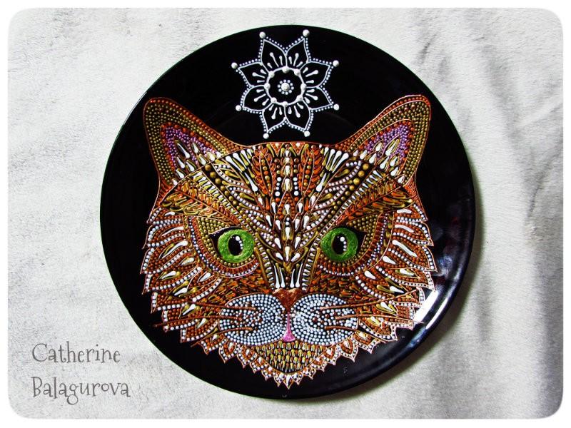 Тарелка стеклянная *Кот*